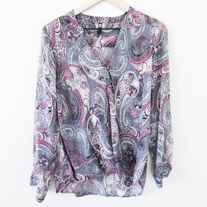 KUT from the Kloth Grey Paisley Long Sleeve Blouse